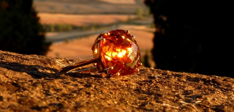 Bague or citrine briolette