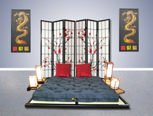 futons japonais et tatamis traditionnels sont sur. Black Bedroom Furniture Sets. Home Design Ideas